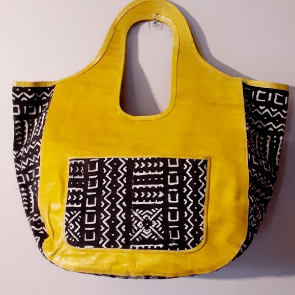 Handmade Hanpainted Leather and Mudcloth XL PURSE